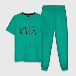 Пижама хлопковая мужская I am Kira цвета зеленый — фото 1