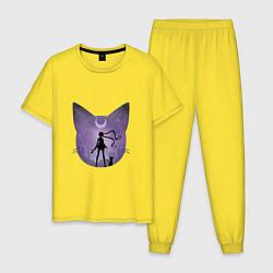 Пижама хлопковая мужская Лунный воен цвета желтый — фото 1