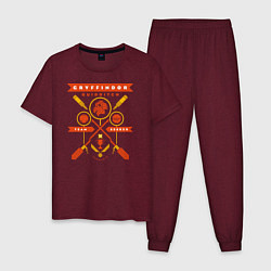Пижама хлопковая мужская Gryffindor Quidditch цвета меланж-бордовый — фото 1