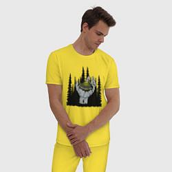 Пижама хлопковая мужская Гость из космоса цвета желтый — фото 2