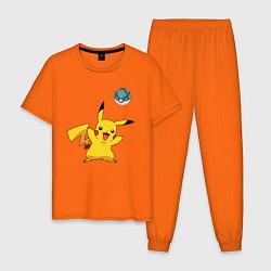 Пижама хлопковая мужская Pokemon pikachu 1 цвета оранжевый — фото 1