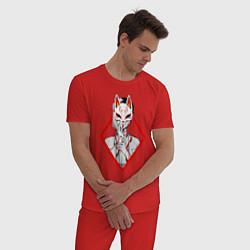 Пижама хлопковая мужская Женщина в маске цвета красный — фото 2