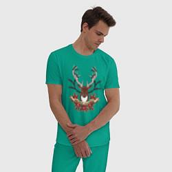 Пижама хлопковая мужская Kurort-Darasun цвета зеленый — фото 2