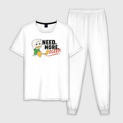 Пижама хлопковая мужская Need More Sleep цвета белый — фото 1