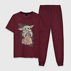 Пижама хлопковая мужская Дитя цвета меланж-бордовый — фото 1
