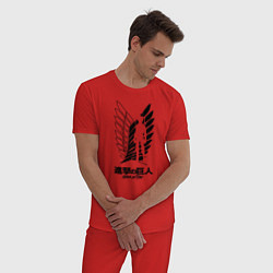 Пижама хлопковая мужская Атака на титанов цвета красный — фото 2