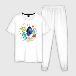 Пижама хлопковая мужская Дори цвета белый — фото 1