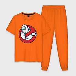 Пижама хлопковая мужская Among Us Ghostbusters цвета оранжевый — фото 1