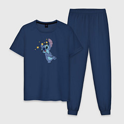 Пижама хлопковая мужская Звездочки и Стич цвета тёмно-синий — фото 1