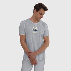 Пижама хлопковая мужская Стич принимает ванну цвета меланж — фото 2