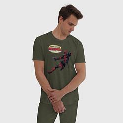 Пижама хлопковая мужская Deadpool цвета меланж-хаки — фото 2