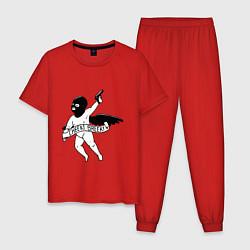 Пижама хлопковая мужская STALKER цвета красный — фото 1