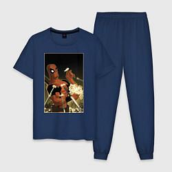 Пижама хлопковая мужская Deadpool цвета тёмно-синий — фото 1