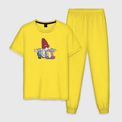 Пижама хлопковая мужская Радужный гном цвета желтый — фото 1