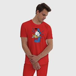 Пижама хлопковая мужская Упс! цвета красный — фото 2