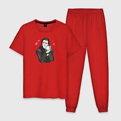 Пижама хлопковая мужская Локи цвета красный — фото 1