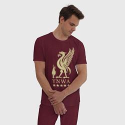 Пижама хлопковая мужская Liverpool FC цвета меланж-бордовый — фото 2