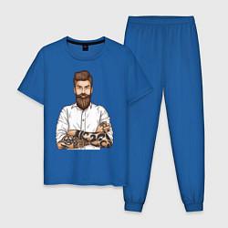 Пижама хлопковая мужская Хипстер цвета синий — фото 1