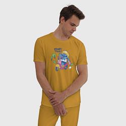 Пижама хлопковая мужская Стич цвета горчичный — фото 2