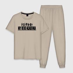 Пижама хлопковая мужская Моя геройская академия цвета миндальный — фото 1