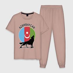 Пижама хлопковая мужская Азербайджан цвета пыльно-розовый — фото 1