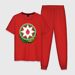 Пижама хлопковая мужская Азербайджан цвета красный — фото 1