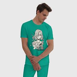 Пижама хлопковая мужская Beautiful Senpai цвета зеленый — фото 2