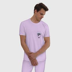 Пижама хлопковая мужская Мысли цвета лаванда — фото 2
