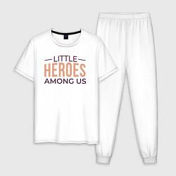 Пижама хлопковая мужская Little HEROES Among Us цвета белый — фото 1