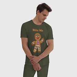 Пижама хлопковая мужская Выкуси! цвета меланж-хаки — фото 2