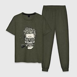 Пижама хлопковая мужская Стильный барбер цвета меланж-хаки — фото 1