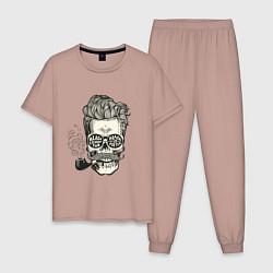 Пижама хлопковая мужская Стильный барбер цвета пыльно-розовый — фото 1