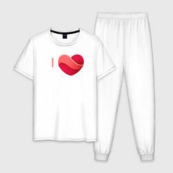 Пижама хлопковая мужская Я люблю Жигулёвск цвета белый — фото 1