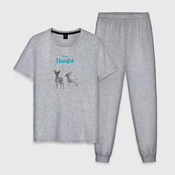 Пижама хлопковая мужская Бэмби цвета меланж — фото 1