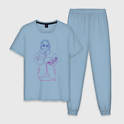 Пижама хлопковая мужская Haunted Family Neon Kizaru цвета мягкое небо — фото 1