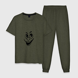 Пижама хлопковая мужская Улыбка цвета меланж-хаки — фото 1