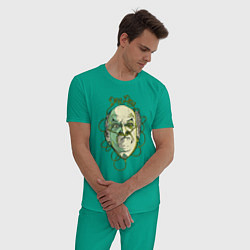Пижама хлопковая мужская Гектор Саламанка цвета зеленый — фото 2