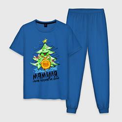 Пижама хлопковая мужская С Новым Годом цвета синий — фото 1