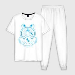 Пижама хлопковая мужская I DID IT FOR ME цвета белый — фото 1