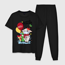 Пижама хлопковая мужская Новый Год в маске цвета черный — фото 1