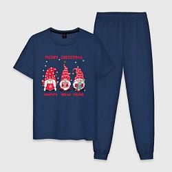 Пижама хлопковая мужская Новогодние гномы цвета тёмно-синий — фото 1