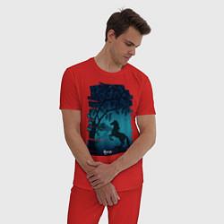 Пижама хлопковая мужская Конь цвета красный — фото 2
