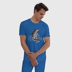 Пижама хлопковая мужская Годзилла цвета синий — фото 2