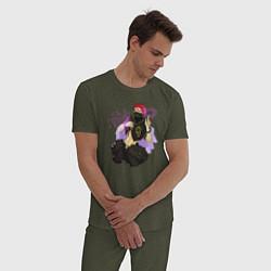 Пижама хлопковая мужская Zora Ideale цвета меланж-хаки — фото 2