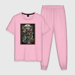 Пижама хлопковая мужская Demons Souls цвета светло-розовый — фото 1