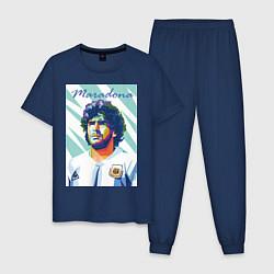 Пижама хлопковая мужская Марадона золотой мальчик цвета тёмно-синий — фото 1