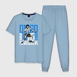 Пижама хлопковая мужская 10 Diego Maradona цвета мягкое небо — фото 1
