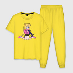 Пижама хлопковая мужская Усаги и Луна цвета желтый — фото 1