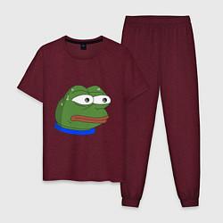 Пижама хлопковая мужская Pepe MonkaS цвета меланж-бордовый — фото 1