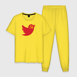 Пижама хлопковая мужская Team Trump цвета желтый — фото 1